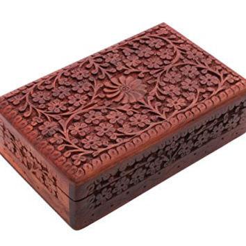 Hand Carved Wooden Jewelry Box Keepsake Organizer with Intricate Floral Pattern