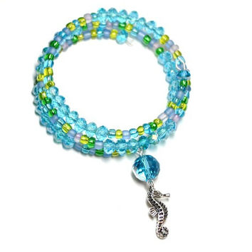 Green and Blue Seed Bead and Crystal Sea Horse Memory Wire Wrap Bracelet