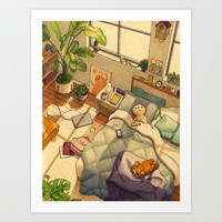 Afternoon Nap Art Print by Felicia Chiao