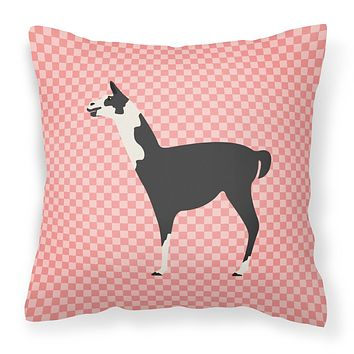 Llama Q' Ara Pink Check Fabric Decorative Pillow BB7918PW1818