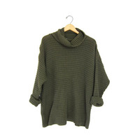 Chunky knit sweater. Oversized GREEN textured knit turtleneck. Slouchy thermo pullover. loose knit preppy Fall Boho pullover