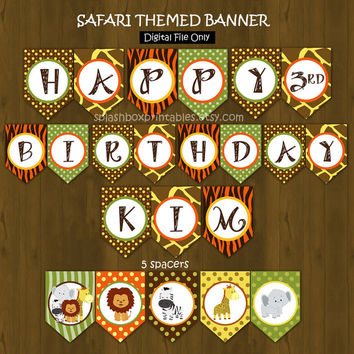 Safari Zoo Jungle Printable Birthday or Baby Shower Banner - Wild Animals Banner