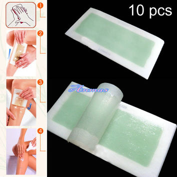 10 PCS ( DOUBLE SIDE ) Aloe Cold Wax Hair Removal Strips For Leg Body and Facial Hair