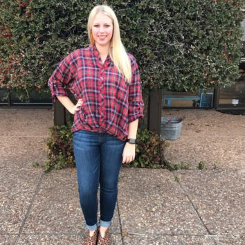 Red & Navy Plaid 3/4 Length Top