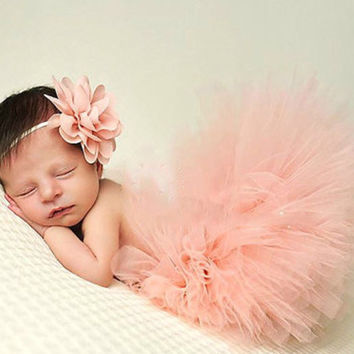 Newborn Peach Tutu an Chiffon Flower Headband Set, Tutu Set, Peach Tutu, Newborn Tutu Set, Photo Prop, Tutu and Flower Headband Set,