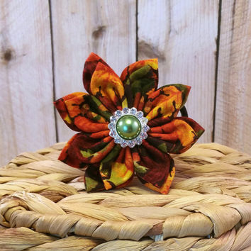 Leaves & Acorns // Dog Collar Flower // Fall // Thanksgiving // Autumn // Halloween // Fabric Flower // Collar Accessory // Hair Accessory