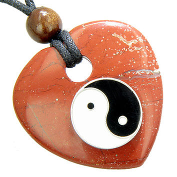Heart Believe Talisman Lucky Ying Yang Red Jasper Gem Pendant Necklace