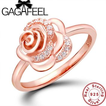 New Arrival Luxury wedding rings for women Rose design ring Real Pure 925 sterling silver