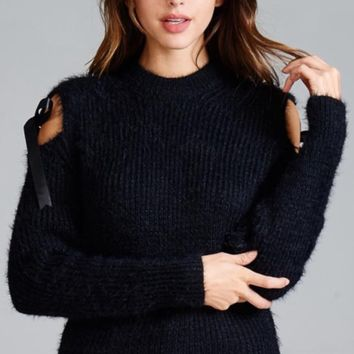 Cold shoulder fuzzy sweater