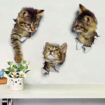 3D Cats Wall Sticker Toilet Stickers Hole View