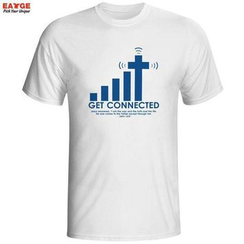 Get Connected To Jesus T Shirt Design Fashion Creative Pattern T Shirt Cool Casual Novelty Funny Tshirt Men Women Style Top Tee