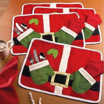 Table Dish Bowl Food Placemat Decoration Christmas Home Party Santa Claus Mats