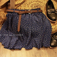 New! Blue Fashion Pleated Floral Chiffon Women Ladies Cute Mini Skirt with Belt
