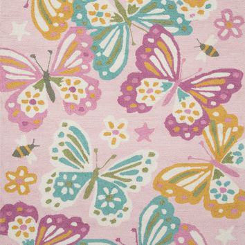 "Francesca Transitional Kid's Room Rug Pink / Multi 3'-6"" X 5'-6"""