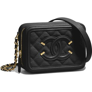 Grained Calfskin & Gold-Tone Metal Red Clutch with Chain | CHANEL