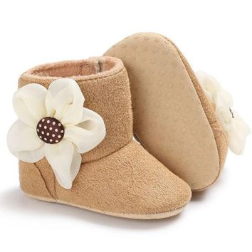 Toddler Girl Flower Boots Winter Anti-slip Plush Crib Shoes Newborn Baby Girl Ankle Length Soft Sole Boots