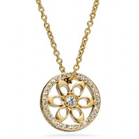 Coach :: Pave Signature Disc Pendant Necklace