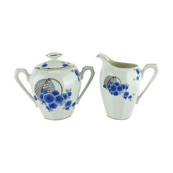 Limoges Cream & Sugar , French Porcelain , Blue Cornflowers , Vintage Fine China