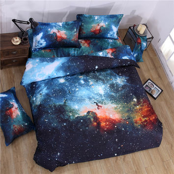 Galaxy Bedding Set 2 or 3 or 4 pcs Polyester Cotton Duvet Cover Flat Sheet Pillowcase Queen Twin Size