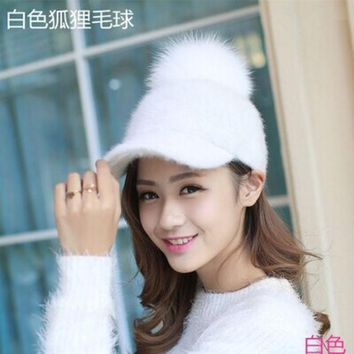 DCCKHY9 lady stylish vintage snow ski winter warm rabbit baseball cap natural real fox raccoon fur ball snapback hat women
