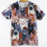 Cats Meeting 3D Printed Street Fashion T-shirts 4 Sizes = 1929851460