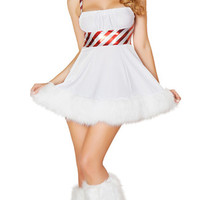White Candy Cane Patch Snowman Mini Dress