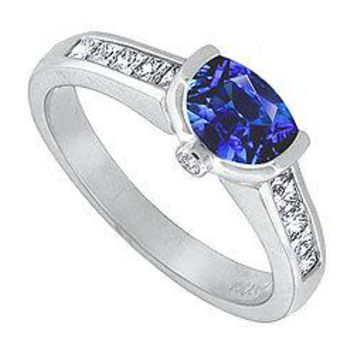 Blue Sapphire and Diamond Engagement Ring : 14K White Gold - 1.50 CT TGW