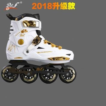 Slide Design Inline Slalom Skates For Sliding FSK Black White Golden Europe 35 to 44 85A PU Skating Wheel Alloy CNC for SEBA HV