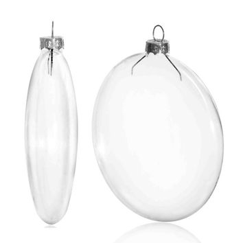 100 Pieces x DIY Paintable 4 Inch (100mm) Christmas Decoration Clear Glass Disc Ornament/Ball With a Silver Cap