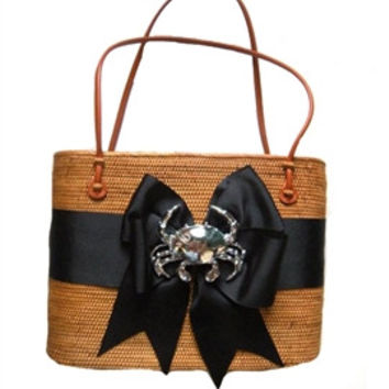 Hanging Straw Purse in Black with Crab Motif