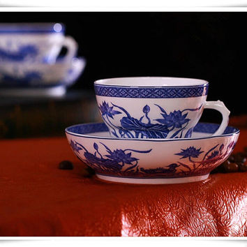 Hand Painted Chinese Porcelain Mug and Saucer, Bone China Tea Cup and Saucer