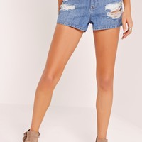 Missguided - Riot High Waisted Cheeky Rip Boy Shorts Blue