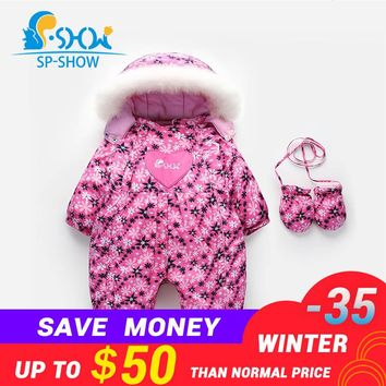 2018 New Autumn And Winter Newborn Baby Clothes High-Quality Advanced Super Warm Down Jacket  Fashion Flowers Baby Clothes