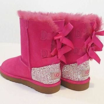 Swarovski Bailey bow ugg boots, girls pink Bailey bow uggs, bling uggs, custom uggs, S