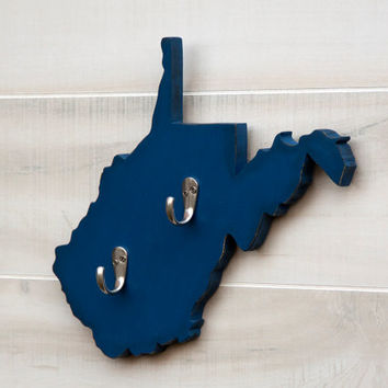 West Virginia or any US state shape wood cutout sign home organizer wall art with key hooks. College Dorm Office Country Decor. 24 colors