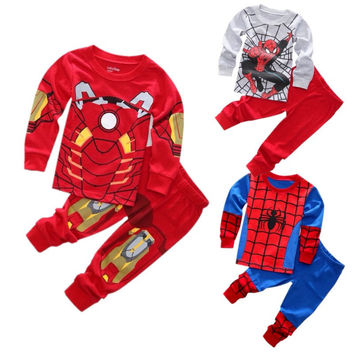 New Spider-man Iron man Pajamas Kids Sleepwear Baby Boys Nightwear Pyjamas sets