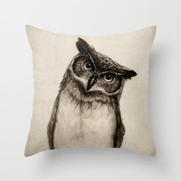 Owl Sketch Throw Pillow by Isaiah K. Stephens | Society6