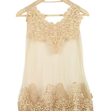 Apricot Lace Tank Embroidery Dress | CozBest:lastest womens fashion clothing,shoes,dresses shop online