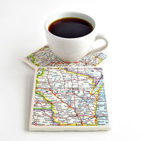 Wisconsin Map Coasters / Wisconsin Coasters / Thanksgiving Hostess Gifts / Christmas Gifts under 25 / Gifts for Friends / Home Decor Gifts