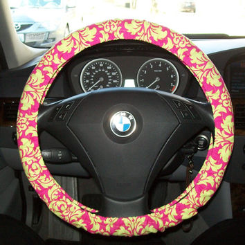 Hot Pink and Lime Green Damask Steering Wheel Cover by mammajane