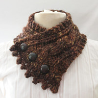 Fishermans Wife Cowl,  Cable Knit Cowl, Neck Warmer, Knitted Cowl, Cable Knit Scarf, Made to Order, Color Sequoia (varigated browns)