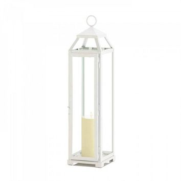 Tall Country White Open Top Lantern
