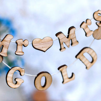 Personalized  Mr. Mrs.and YOUR name Сustom Wedding Cake Topper WOOD Banner