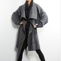 Women coat jacket with batwing sleeve by YiWai