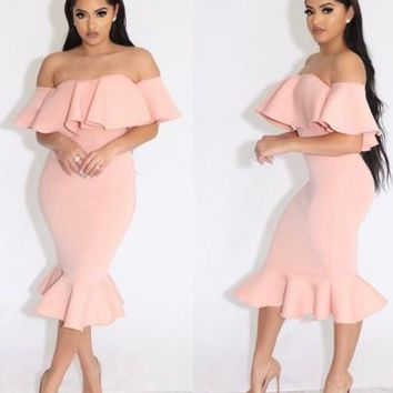 New Women Pink Plain Bandeau Off Shoulder Peplum Mermaid Prom Evening Party Midi Dress