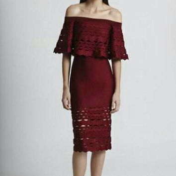 ESB3DS 2018 Trending Black red wine Herve Leger jacquard wavy hollow sleeve bodycon Lace prom dress