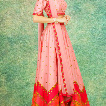 Women's Raw Silk Fabric & Pink Pretty Circular Lehenga Style