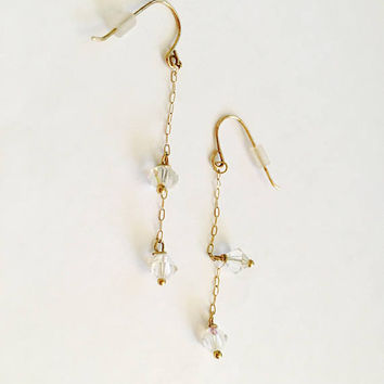Sweet and Elegant Earrings with Swarovski Crystals Suspended on a Fine 10K Chain with French Hooks, Minimalist Earrings