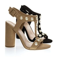 Laveda Natural Beige By Delicious, Pearl Encrusted Sandal On Chunky Block Heel, Women's Party Shoes