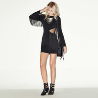Black Waist Cut-out Fringed Long Sleeve Mini Dress
